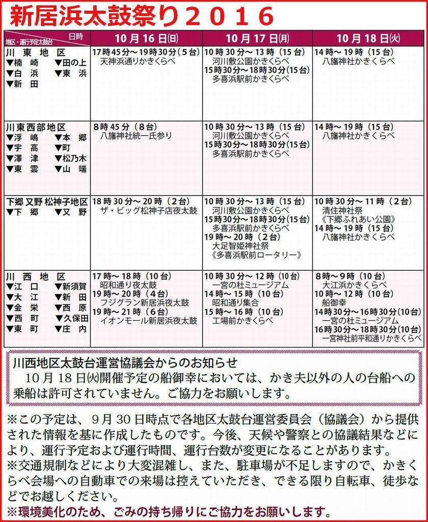 平成28年 新居浜太鼓祭り2016 太鼓台の主な運行予定(9月30日現在版)2