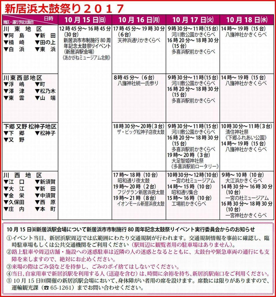 新居浜太鼓祭り2017 太鼓台運行予定(9月13日現在)�A