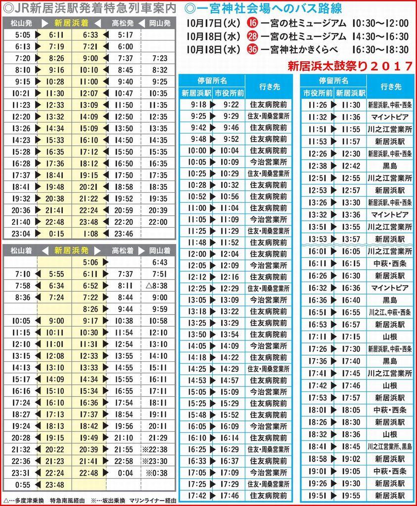 新居浜太鼓祭り2017総合案内マップ バス・列車時刻表